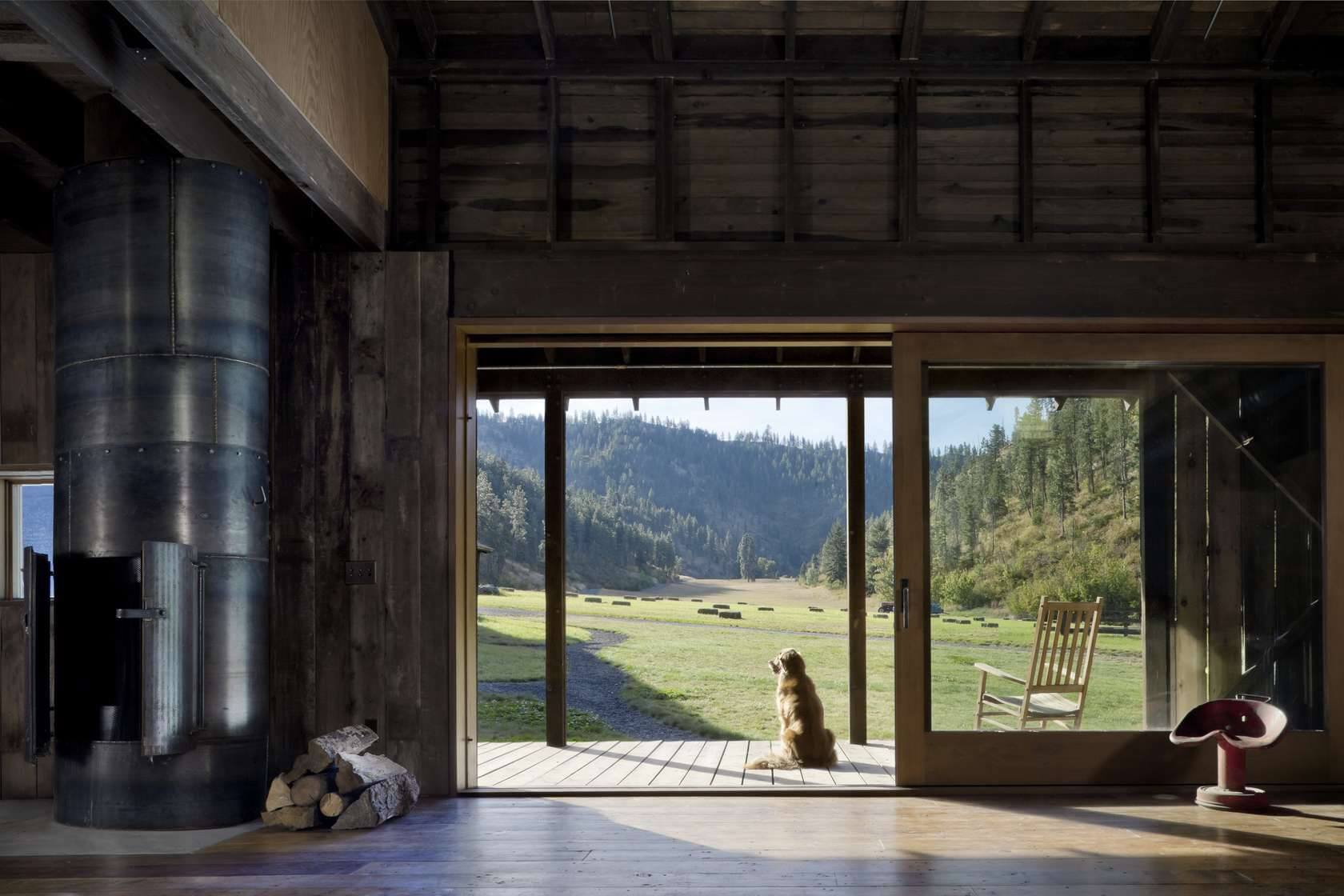 Canyon Barn wooden interior golden retriever enjoying the view