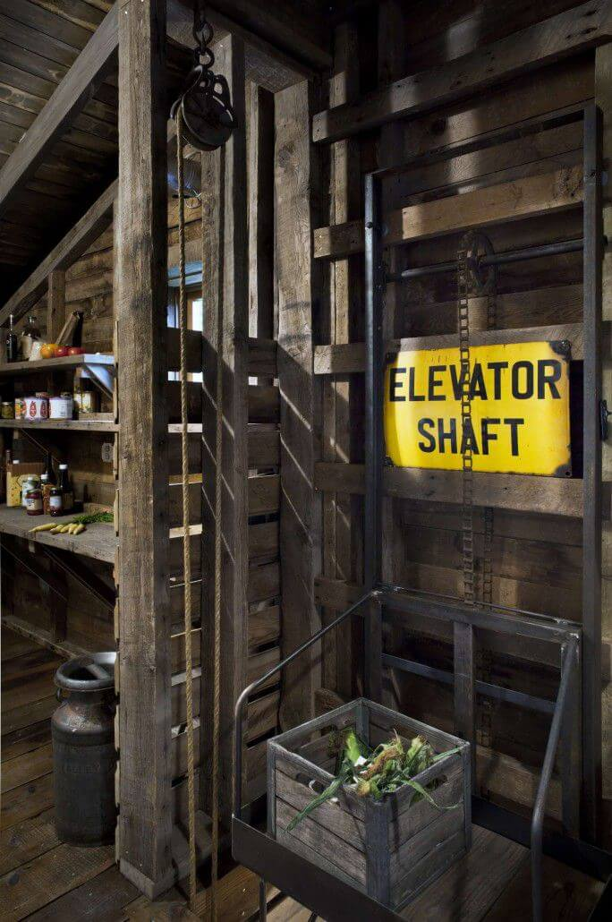 wooden storage idea old elevator shaft