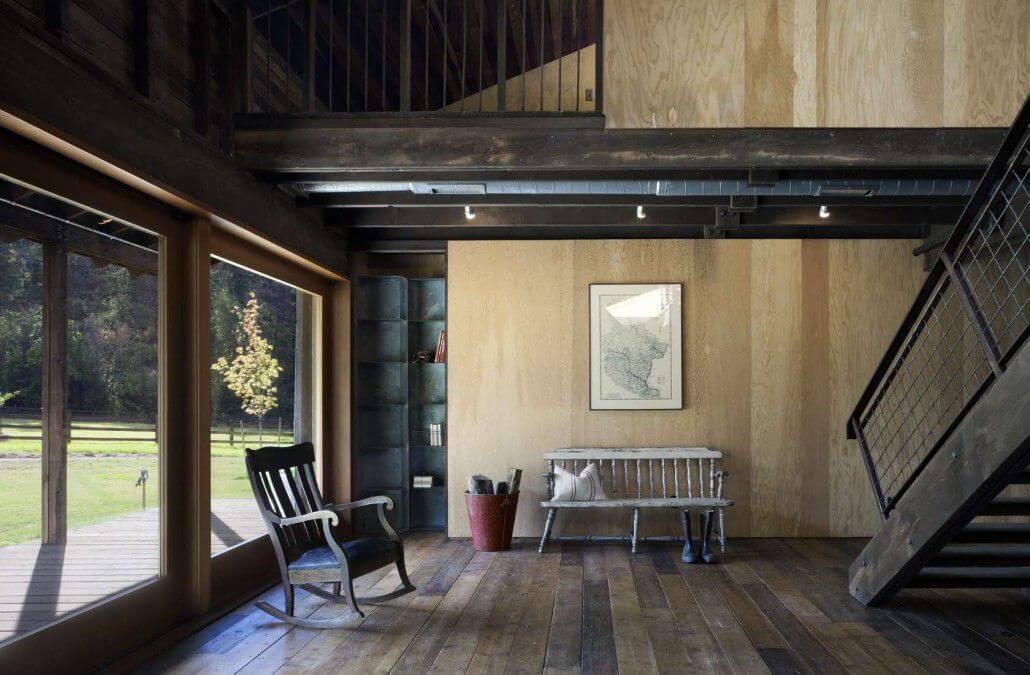Wooden walls, flooring, stairs modern country interior
