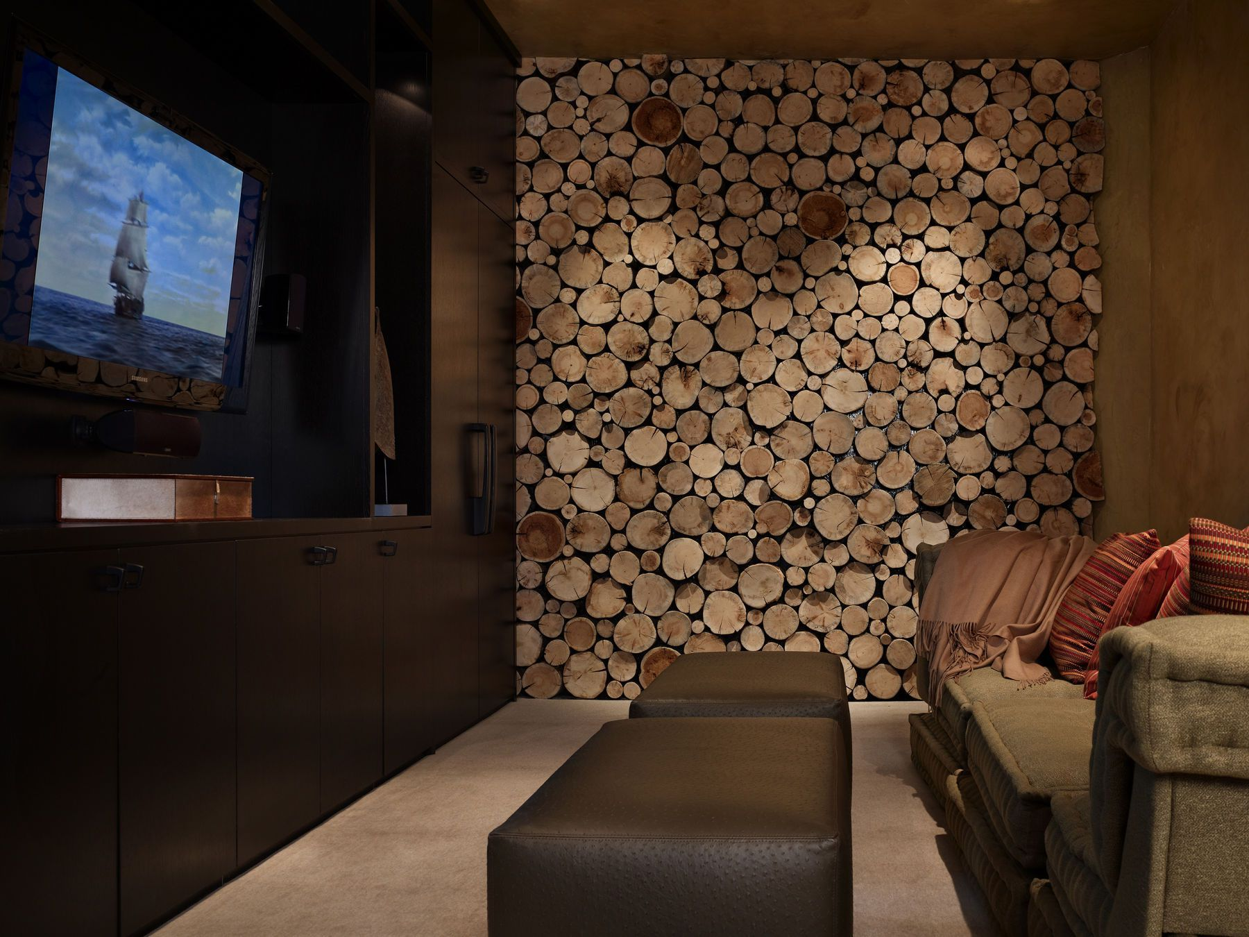 High Alpine Mountain Ranch wood country home log house interior wall