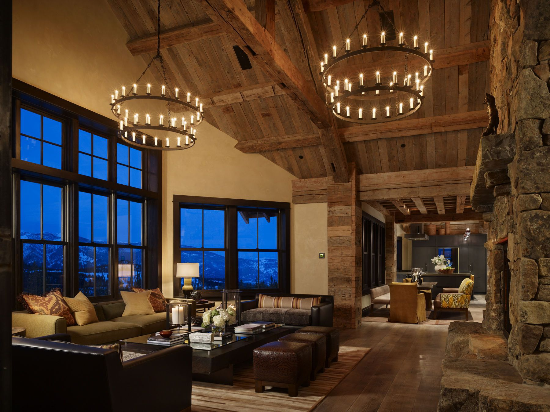 High Alpine Mountain Ranch wood country home log house interior