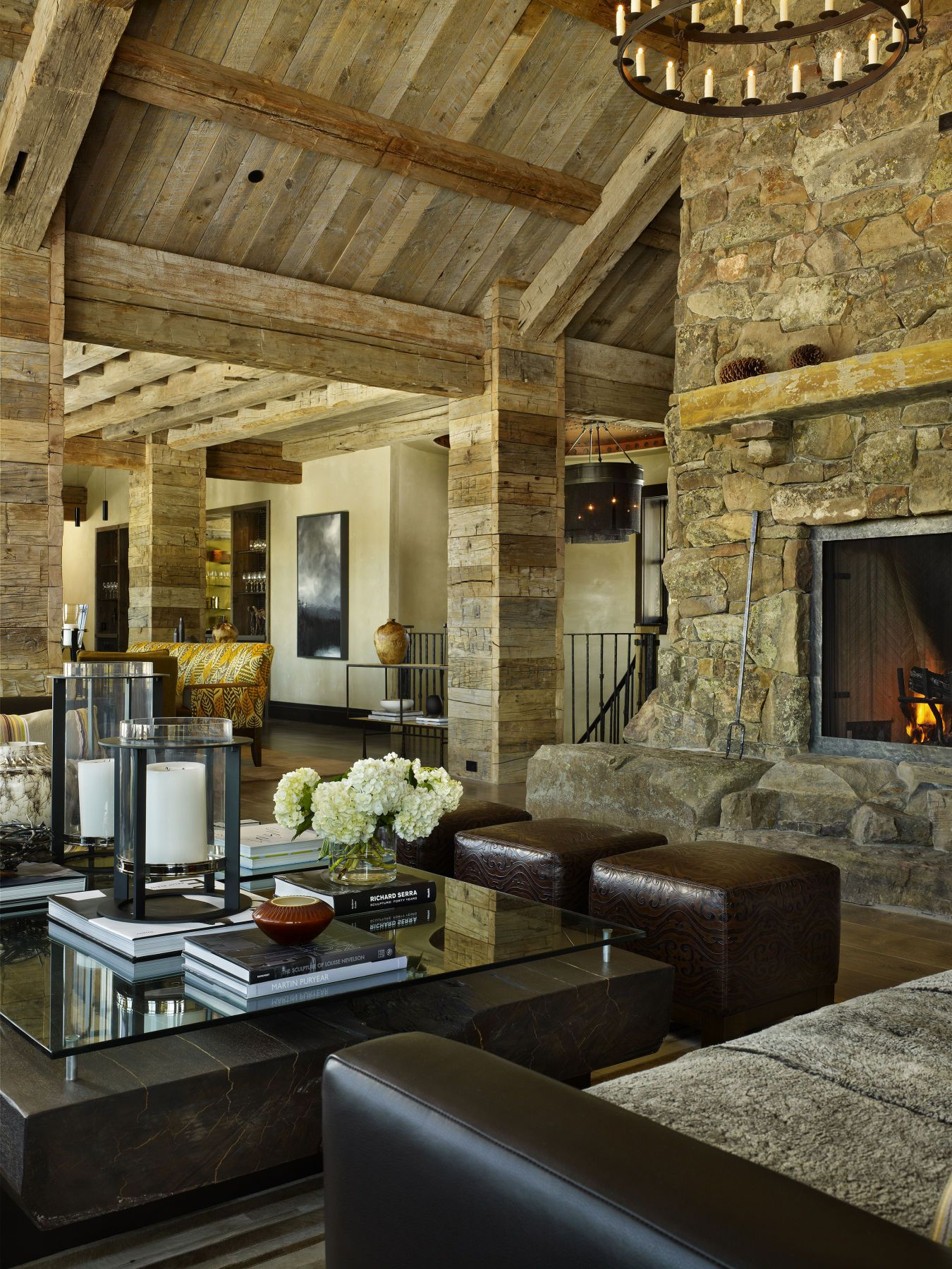 High Alpine Mountain Ranch wood country home log house interior fireplace