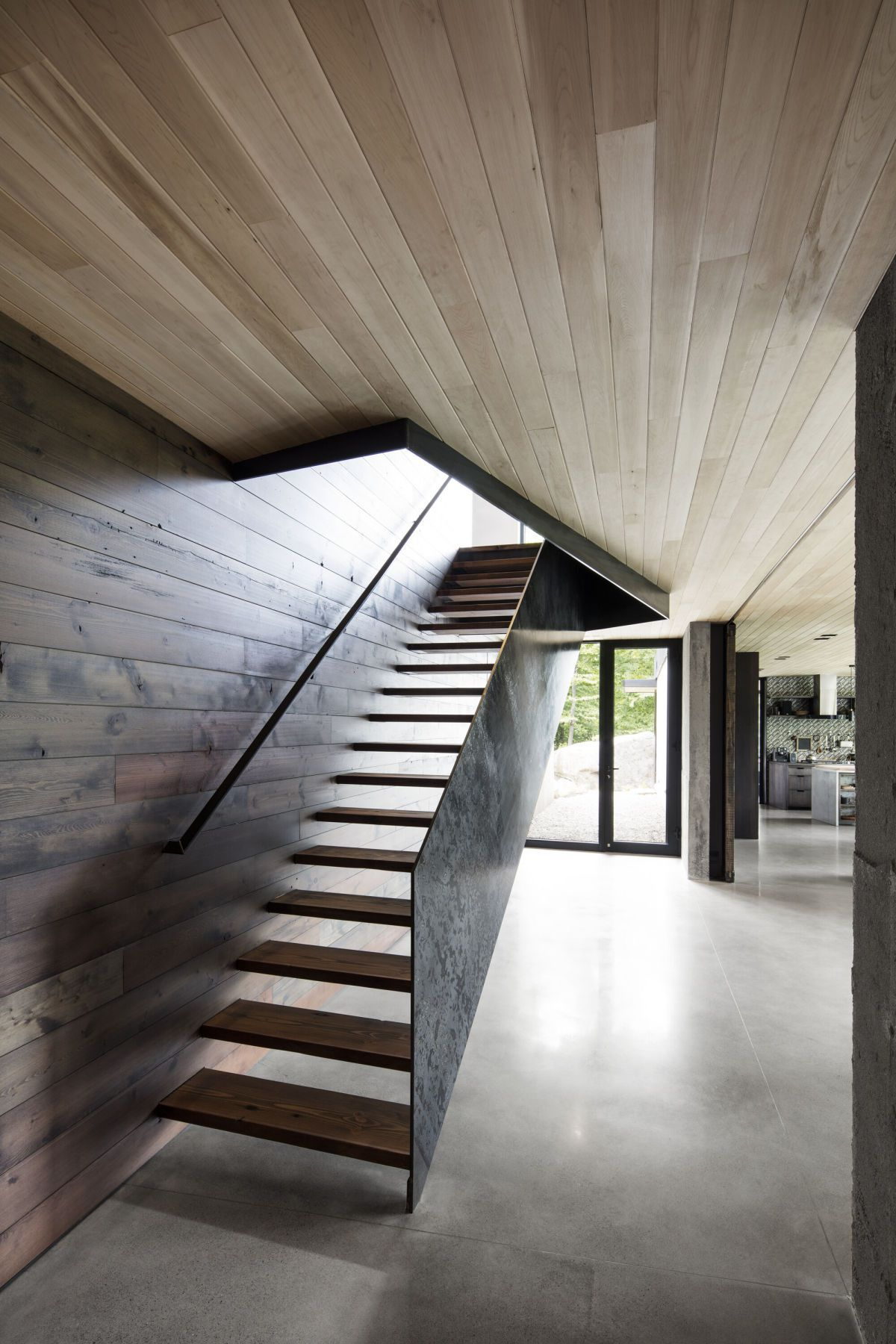 wooden ceiling and staircase