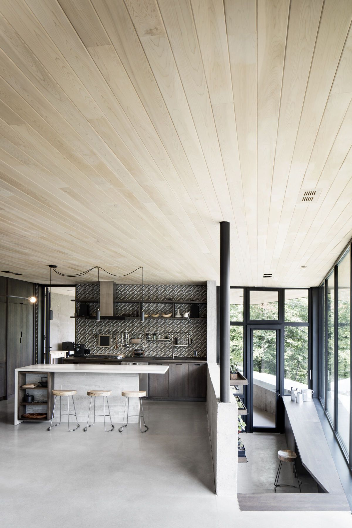 wooden ceiling and open interior