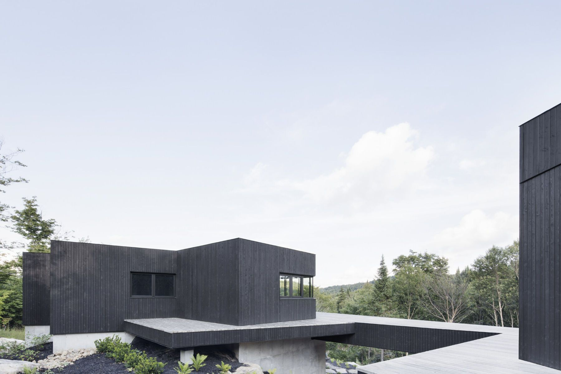 black wooden facade
