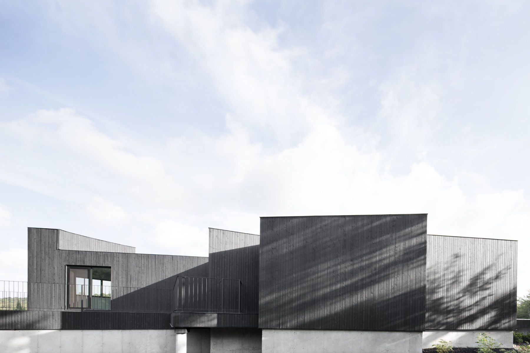 black wooden facade modern architecture
