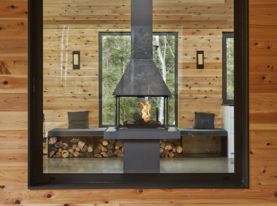 wooden walls interior fireplace Canada Architecture Woodz