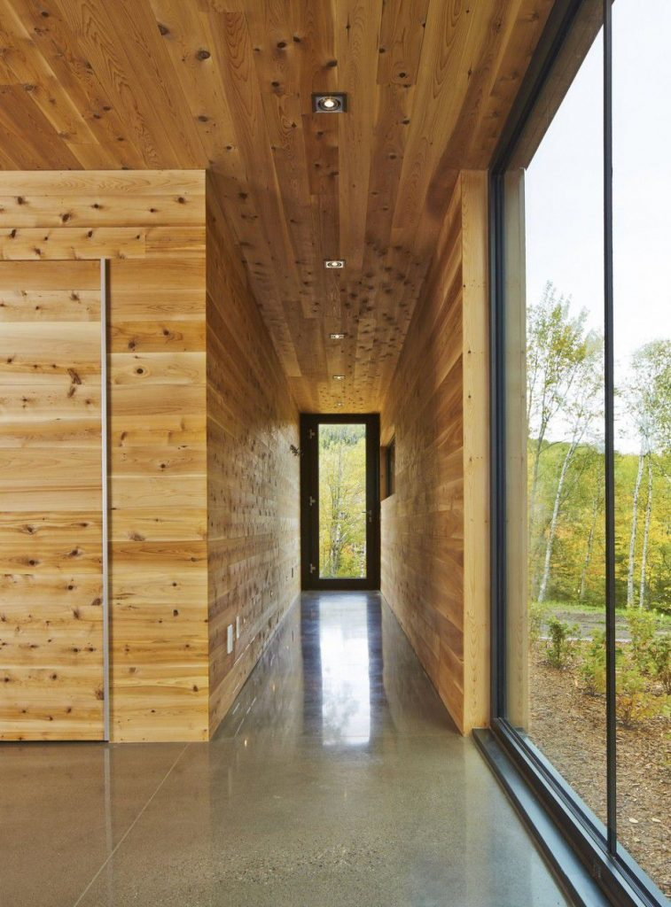 wooden walls and ceiling interior hallway Canada Architecture Woodz