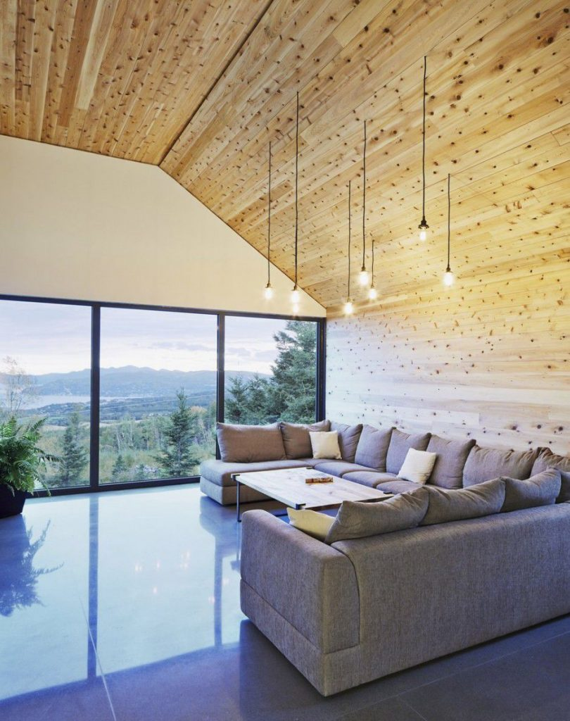 living room wooden ceiling modern sofa Canada Architecture Woodz