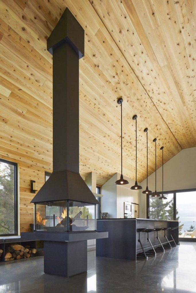 wooden ceiling and hanging fireplace Canada Architecture Woodz