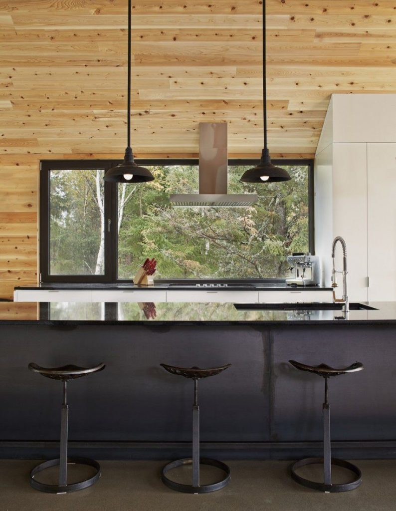 black and white kitchen and wooden interior Canada Architecture Woodz