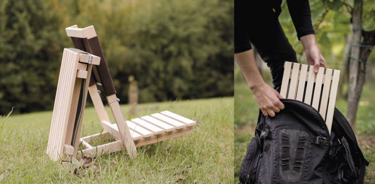 The A4 chair is a wooden chair that folds to the size of a book. It is made from recycled ...