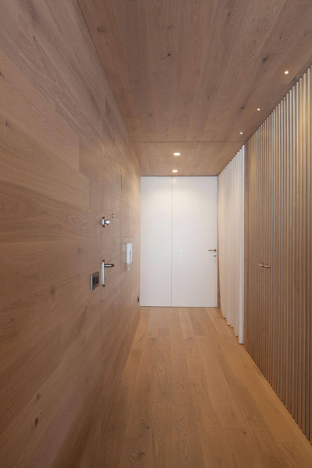 modern interior wooden wall hallway