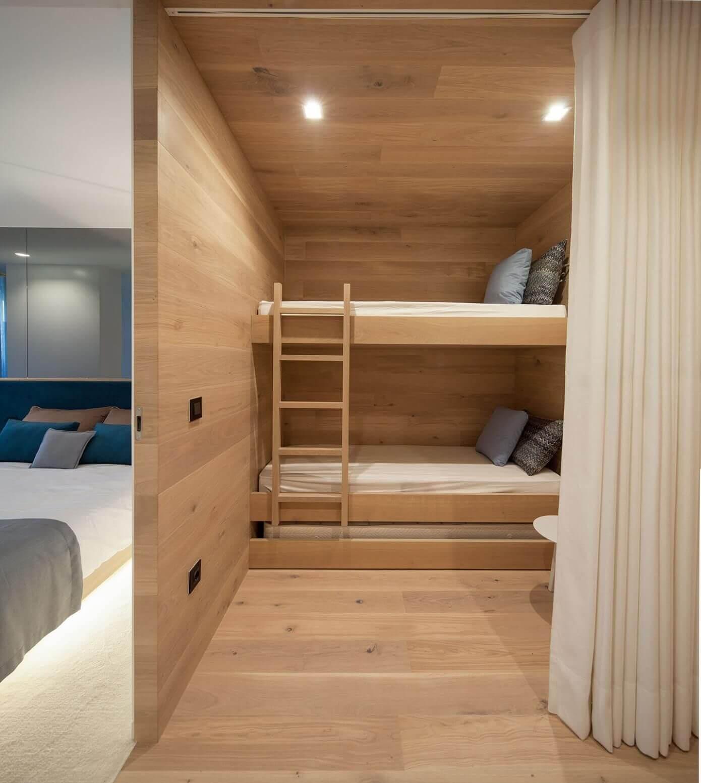 Wooden walls bunk bed