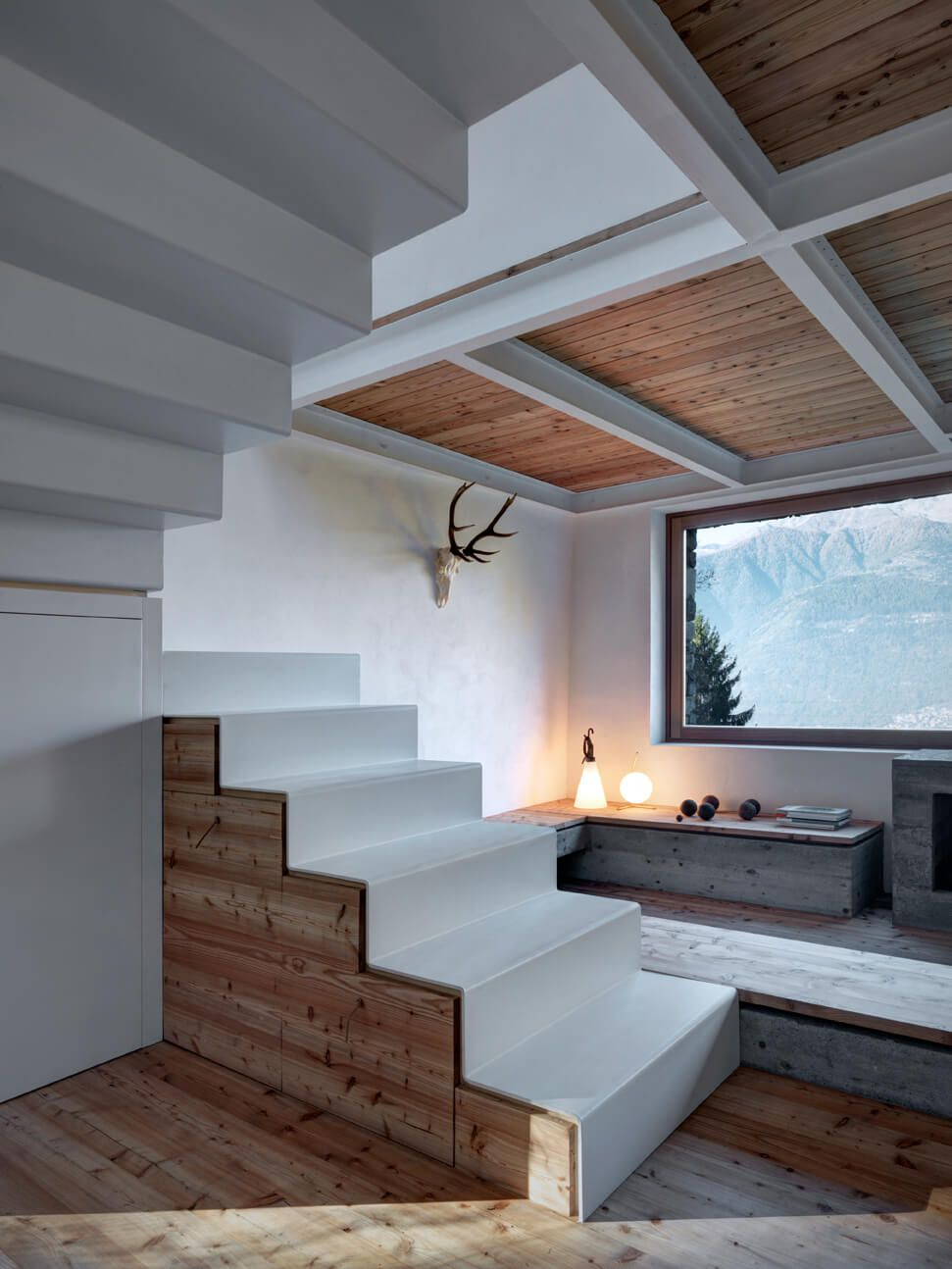 Mountain house design modern white staircase combining wood