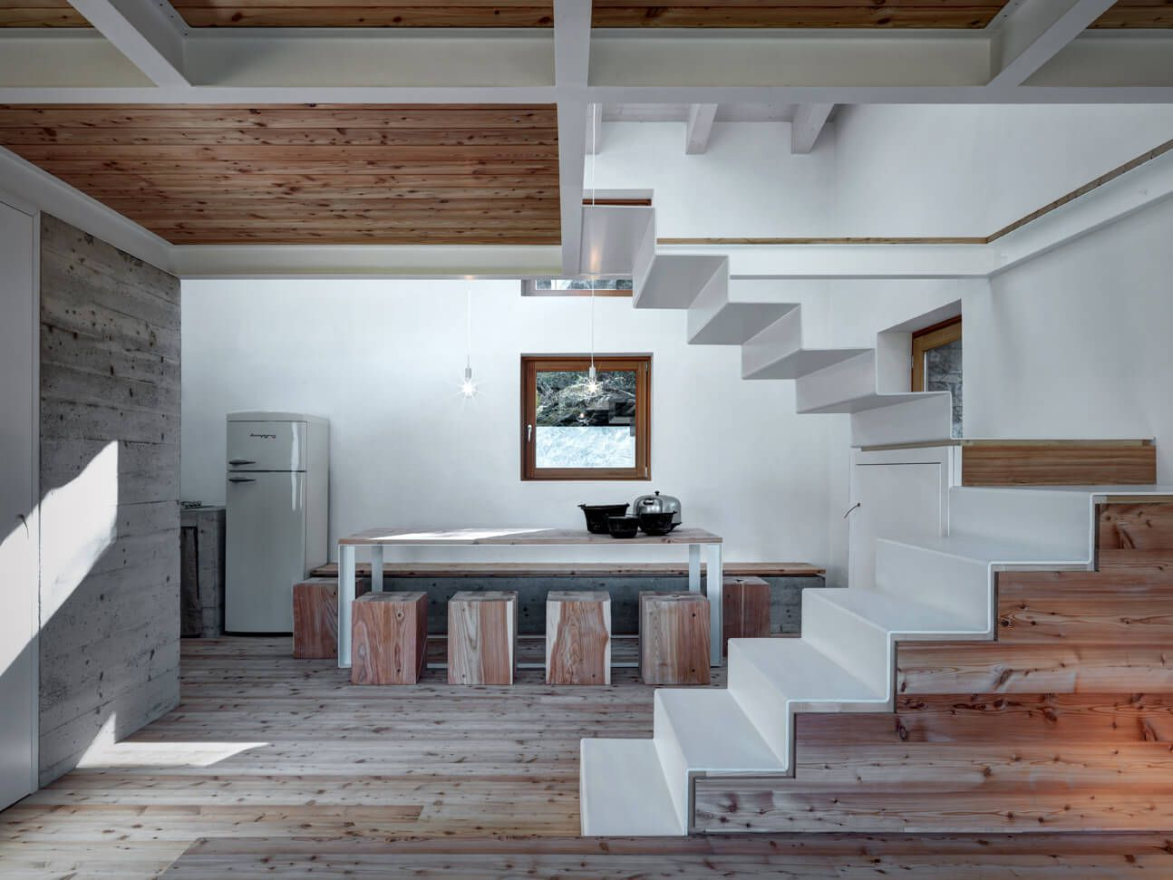 Mountain house interior design wood and concrete