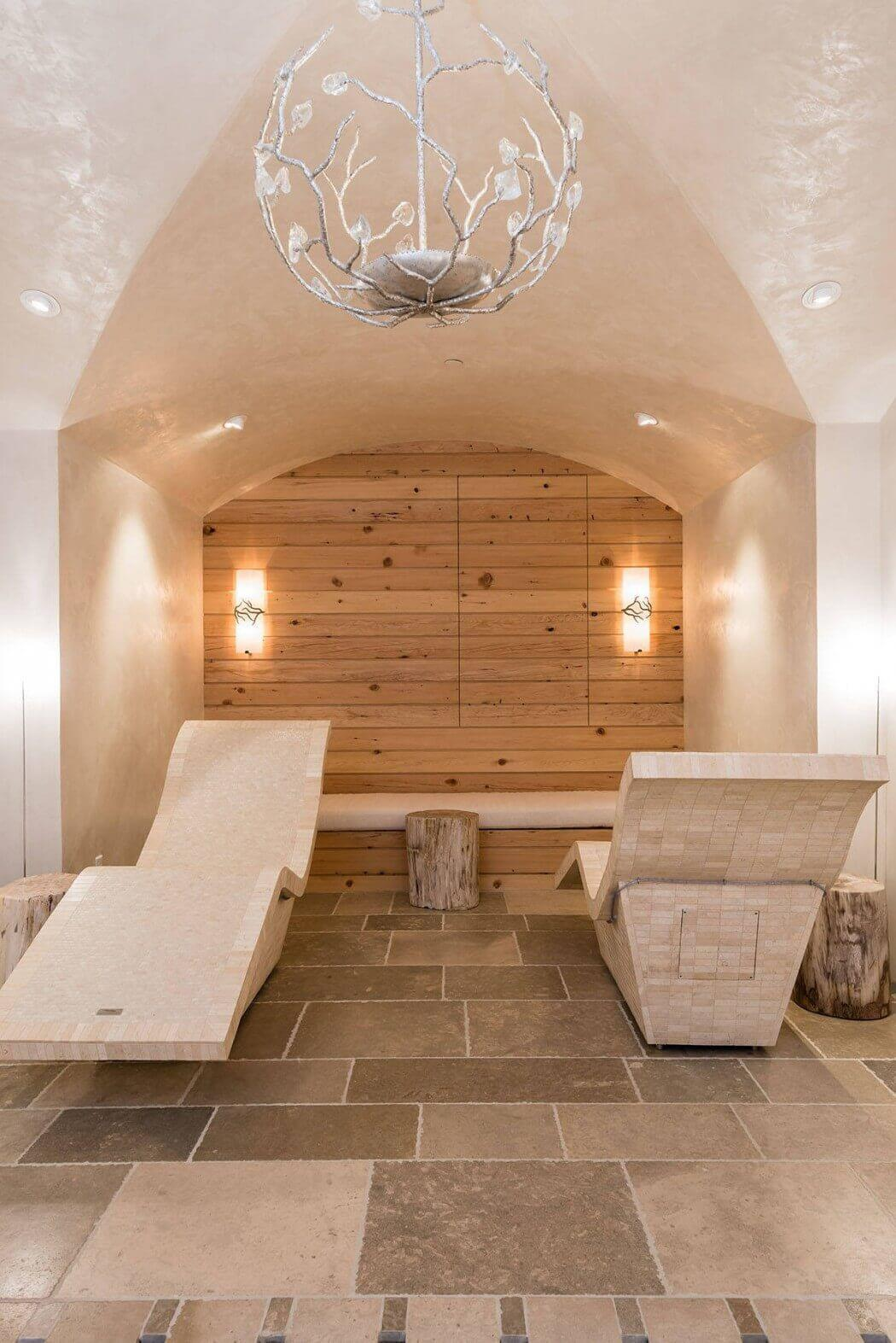 bright spa are with wooden wall in mountain log house cabin