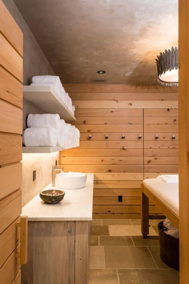 Luxury wooden interior spa area