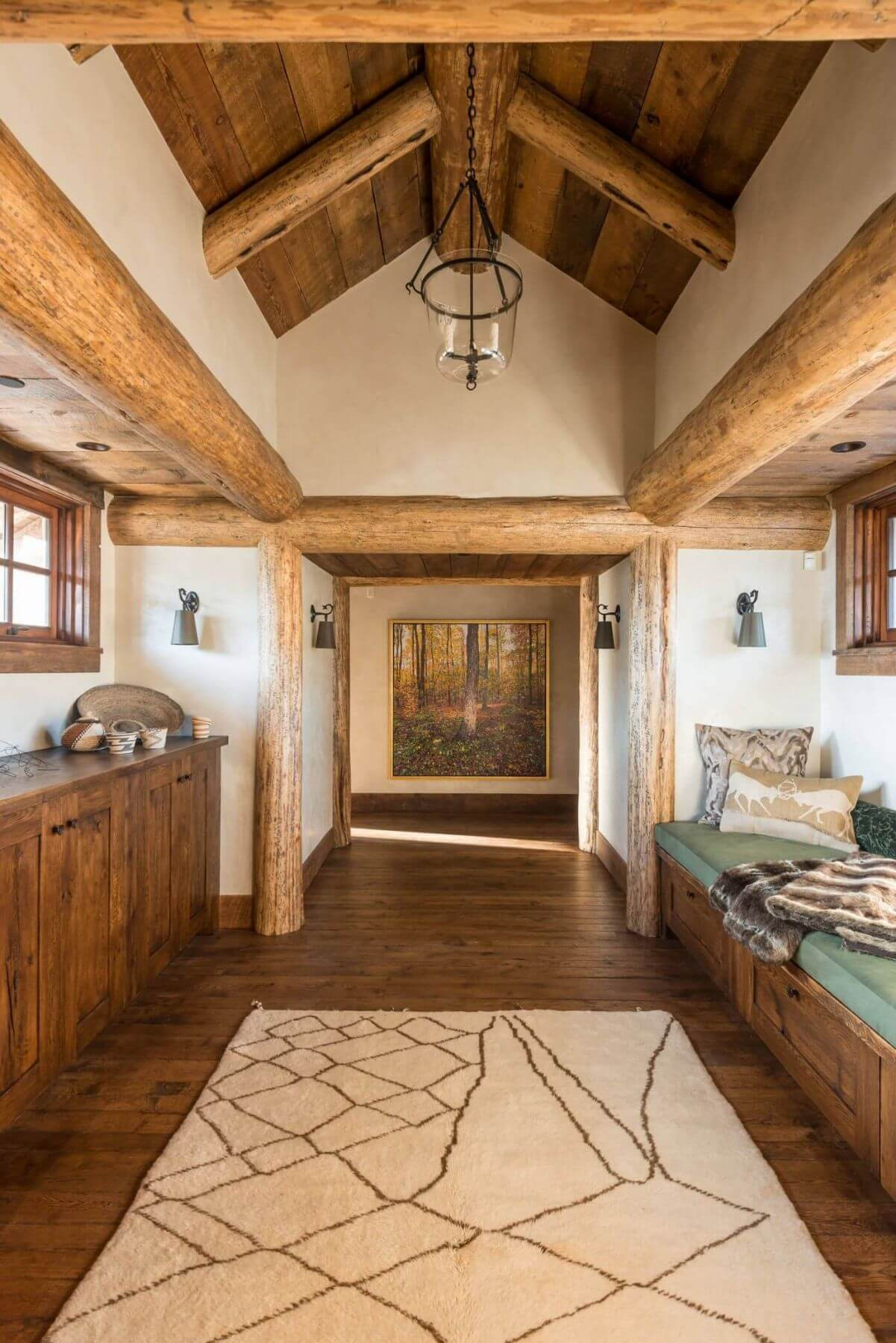 wooden interior log house hallway and resting area