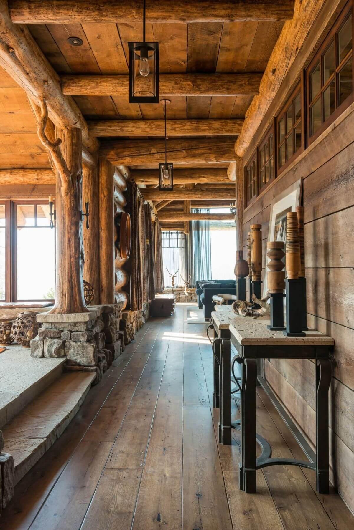 wooden interior log house hallway