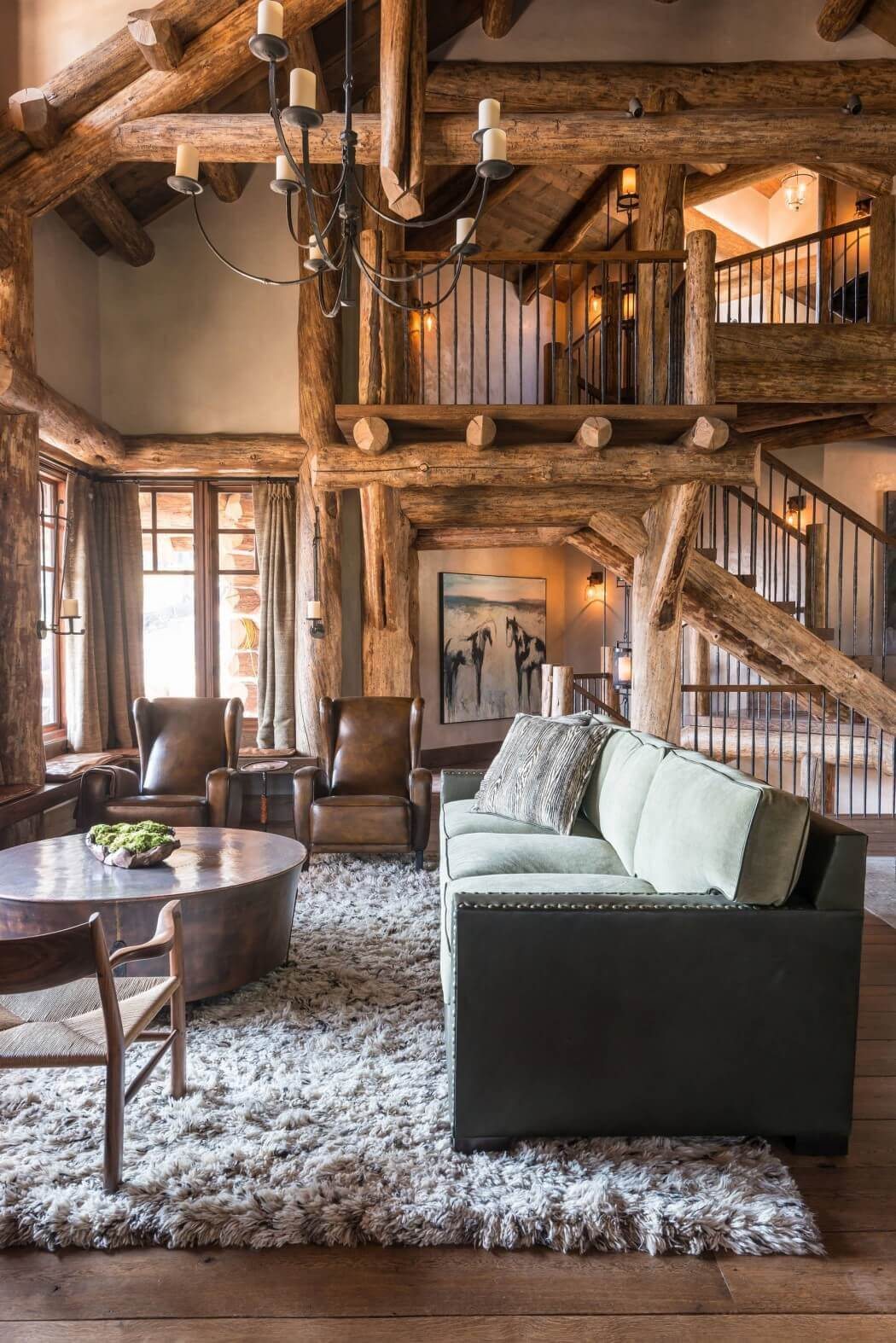 rustic sophisticated log house living room