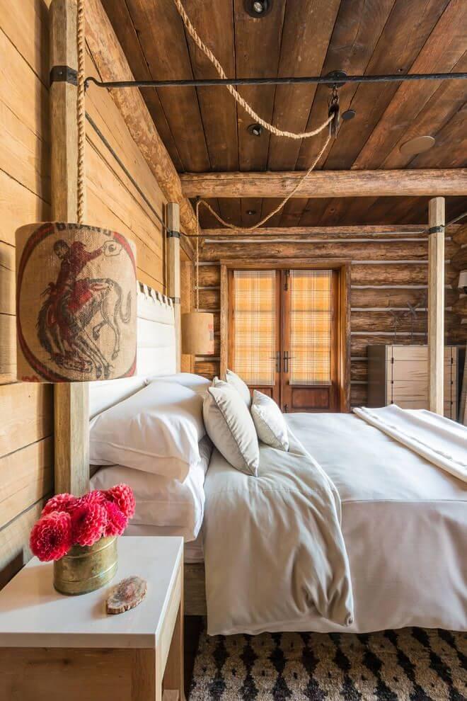 rustic wooden interior bedroom
