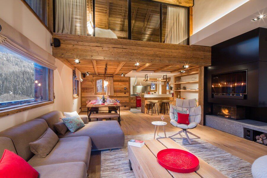 ski chalet wooden rustic alp interior living room fireplace