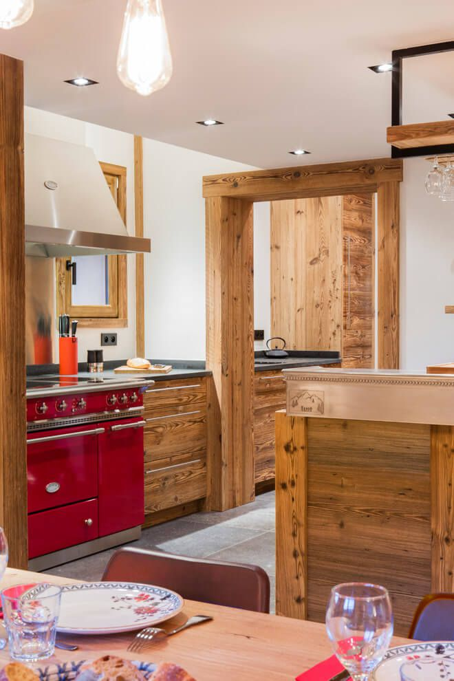 ski chalet wooden rustic alp interior kitchen