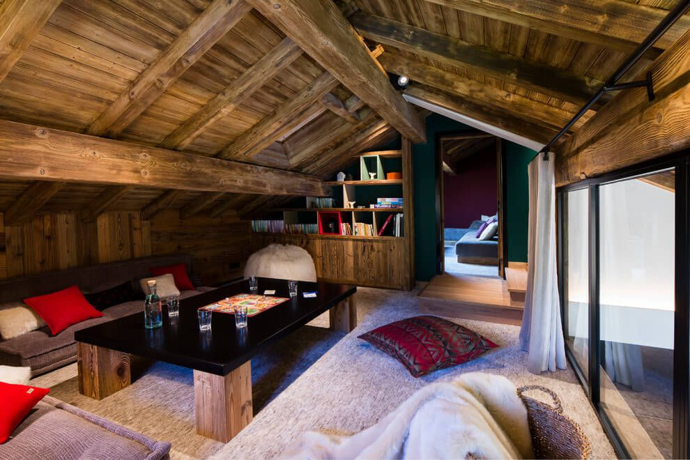 ski chalet wooden rustic alp interior attic cozy living room