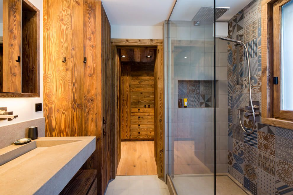 ski chalet wooden rustic alp interior bathroom shower
