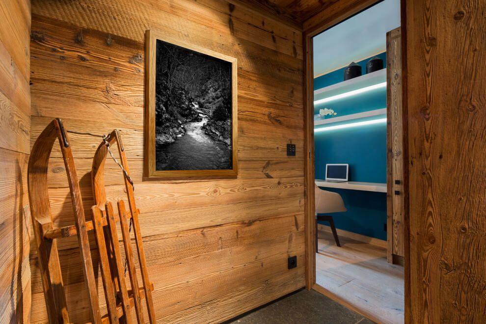 ski chalet wooden rustic alp interior walls