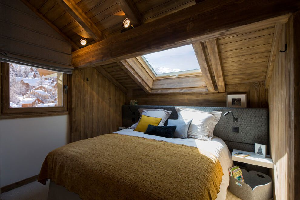 ski chalet wooden rustic alp interior attic bedroom