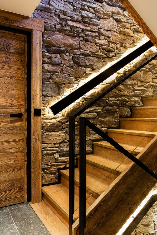 ski chalet wooden rustic alp interior staircase