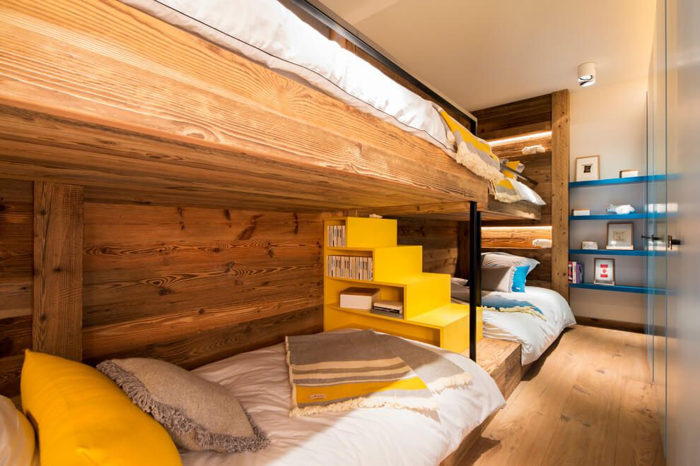 ski chalet wooden rustic alp interior bunk bed