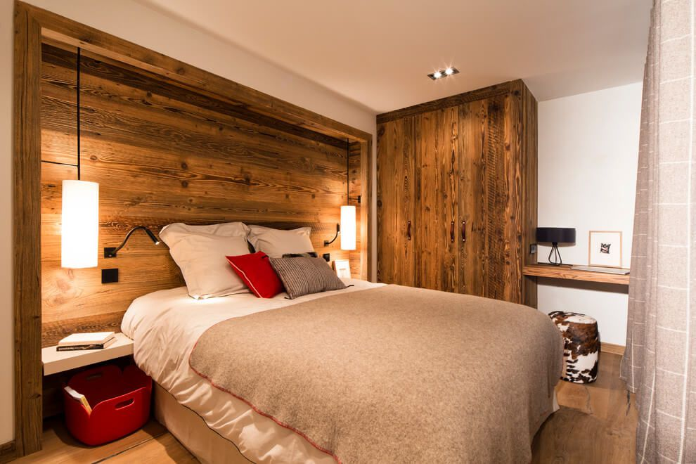 ski chalet wooden rustic alp interior bedroom