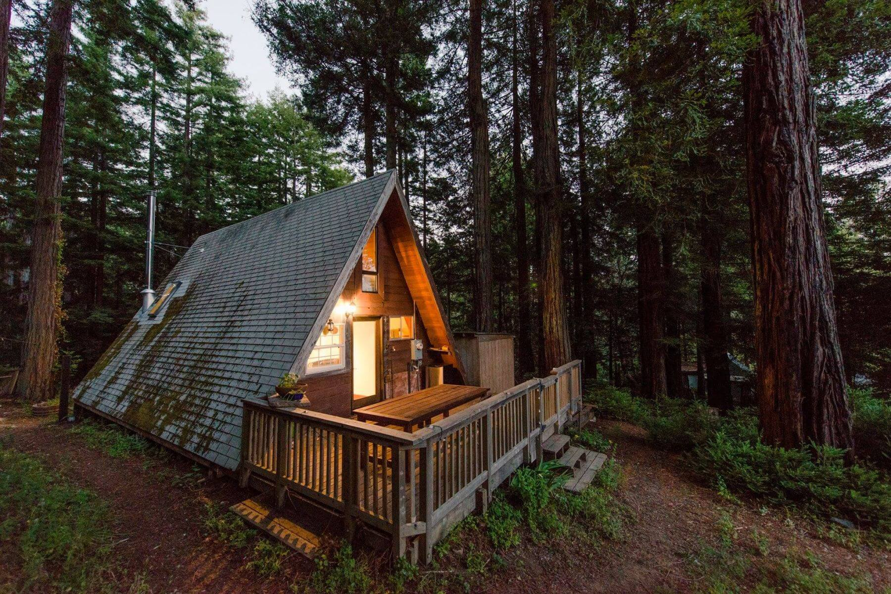 This little a-frame cabin is surrounded by redwoods on a private road in Cazadero. An hour and forty-five minutes north ...