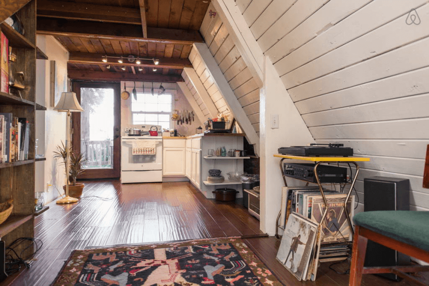 Wooden A-Frame Cabin in the Redwoods interior
