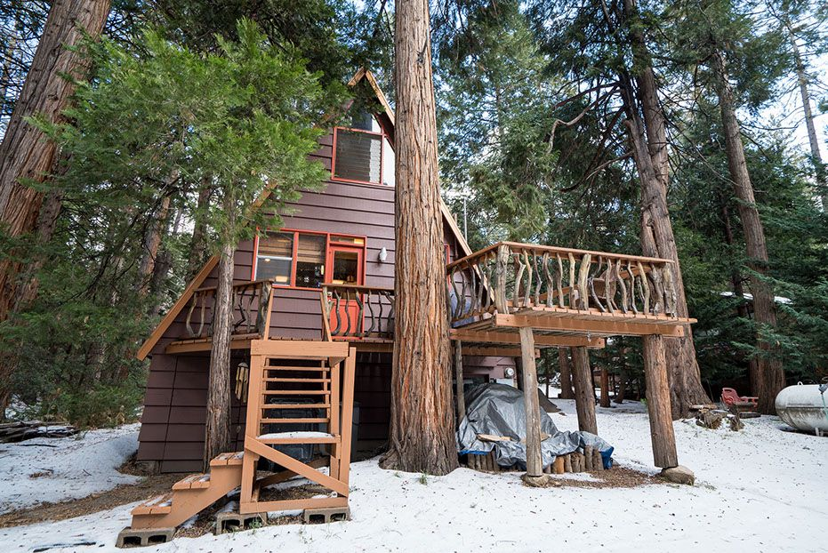 Wooden A-frame house cabin
