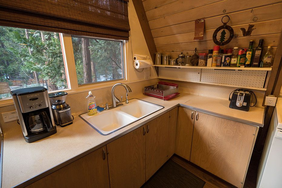 Wooden A-frame house cabin kitchen