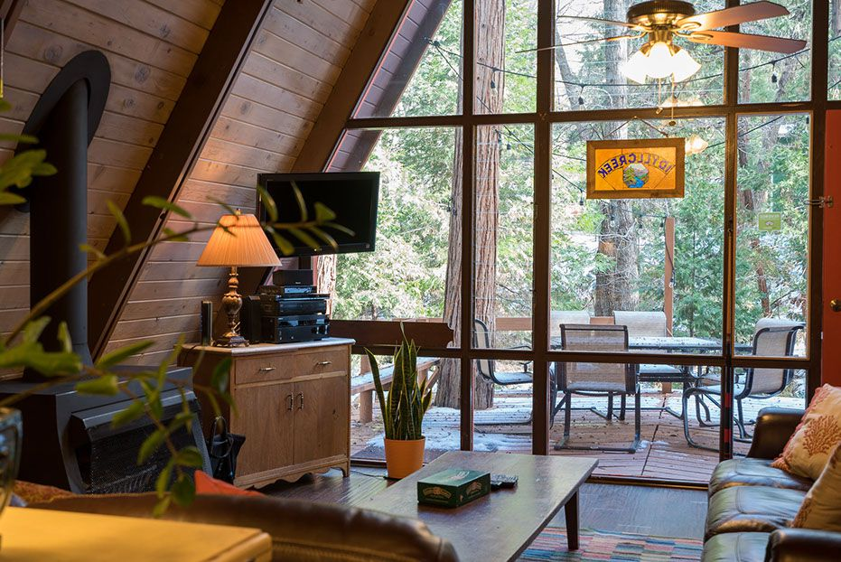 Wooden A-frame house cabin living room