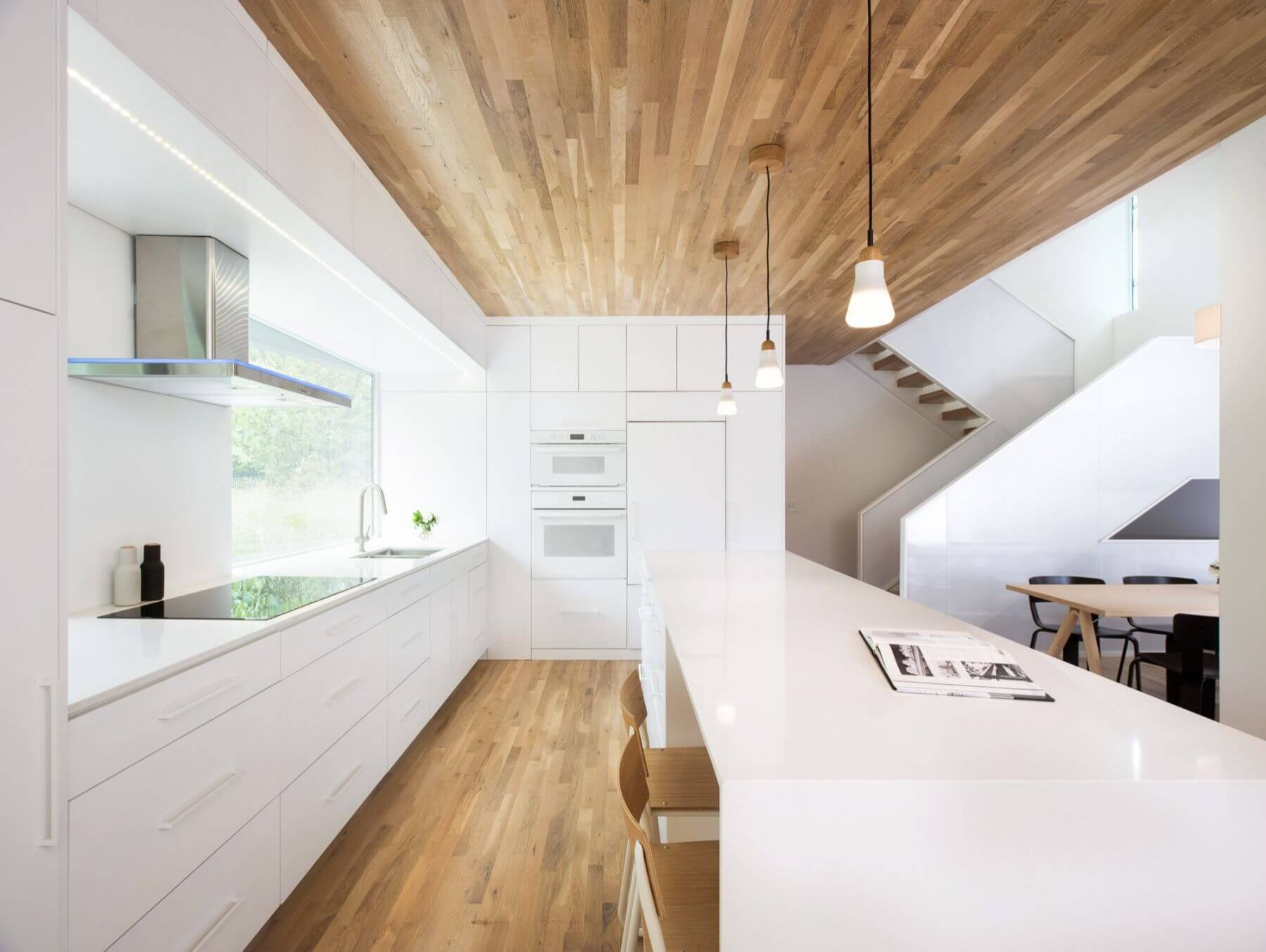 modern wooden ceiling interior white kitchen
