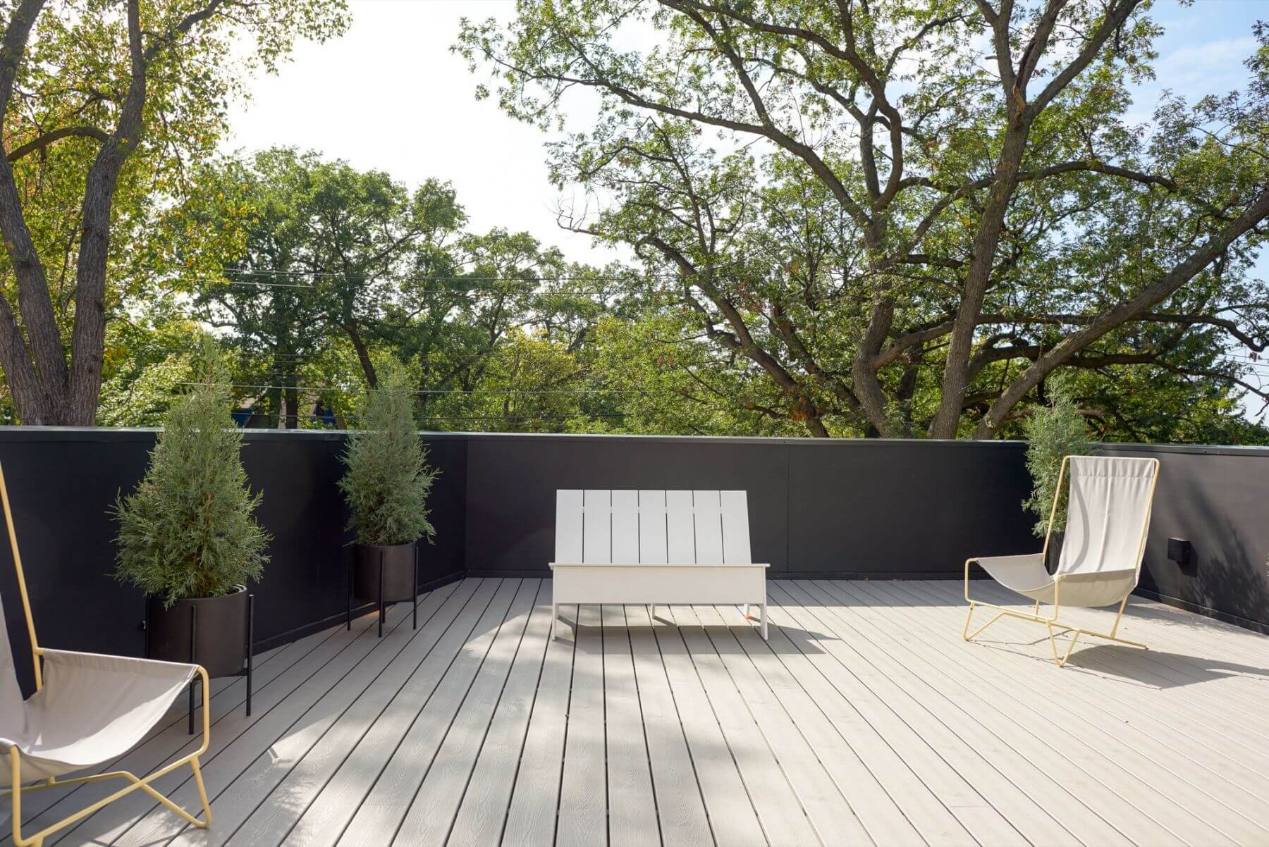 white wooden deck
