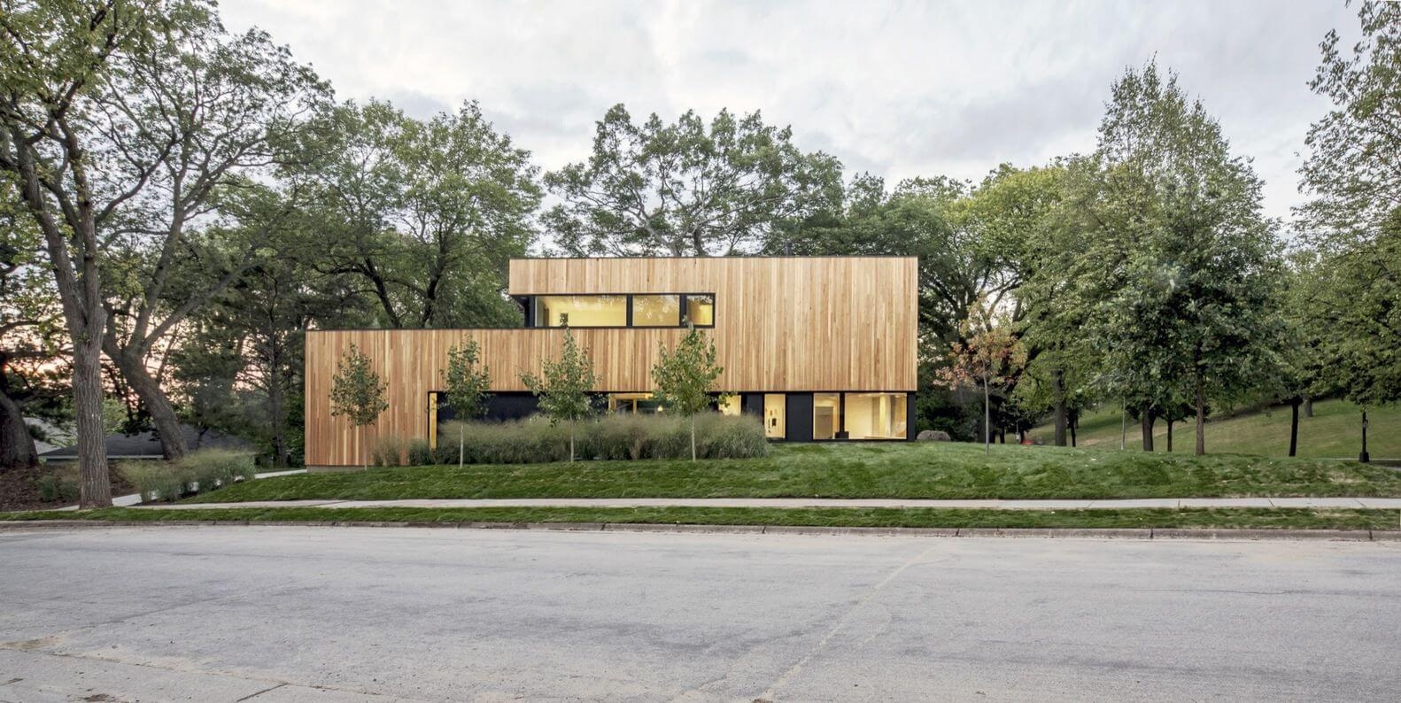 bright wooden exterior walls facade