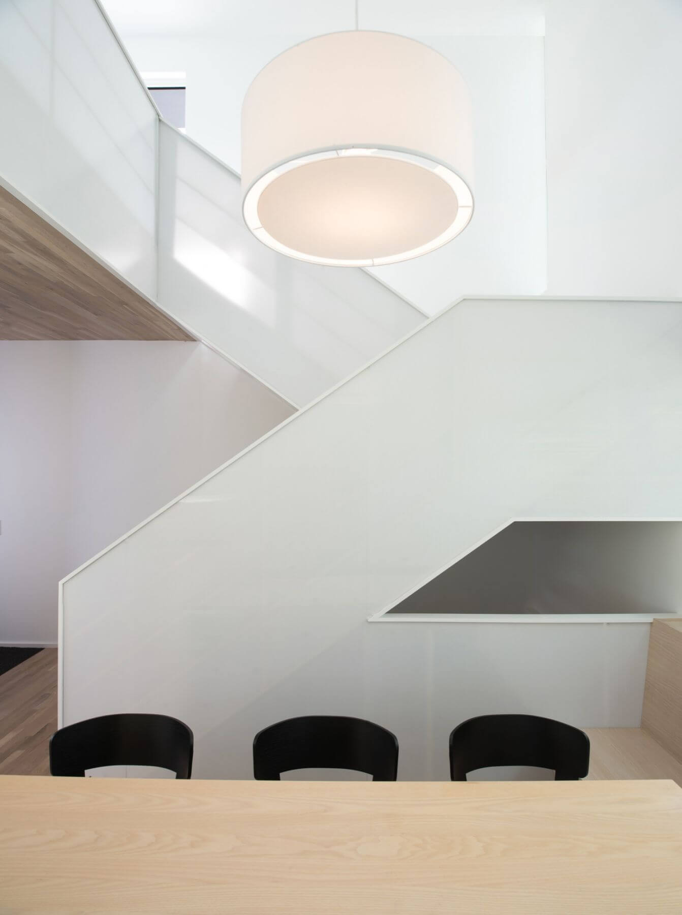 modern interior white and wood staircase