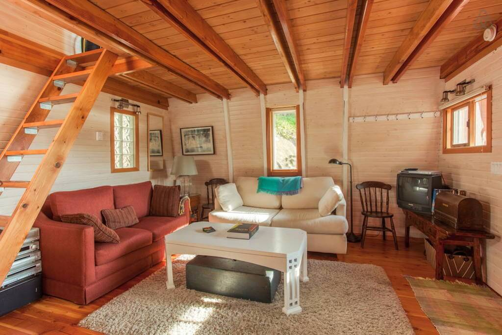Wooden interior cozy living room