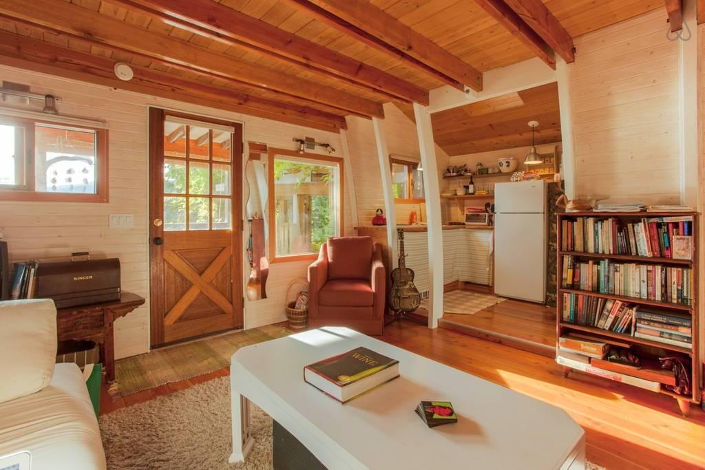 Wooden interior cozy living room