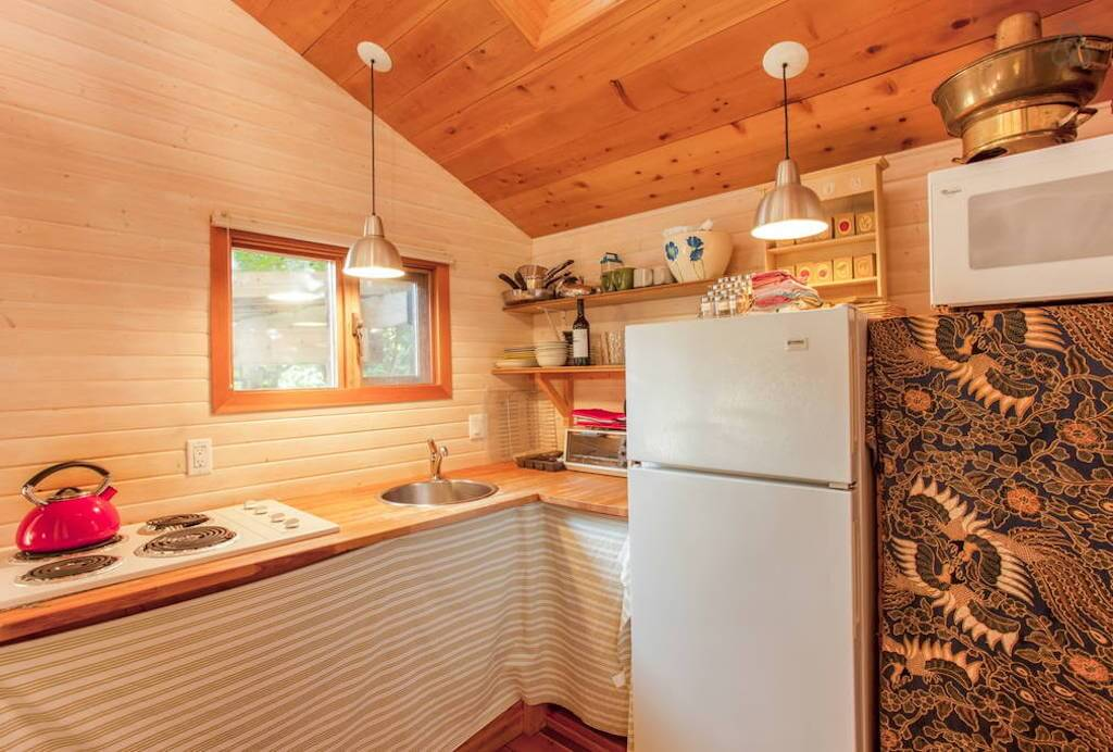 Wooden interior small kitchen