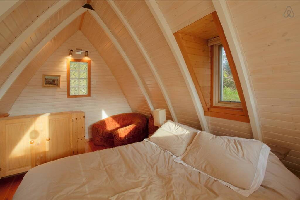 cozy bedroom wooden interior