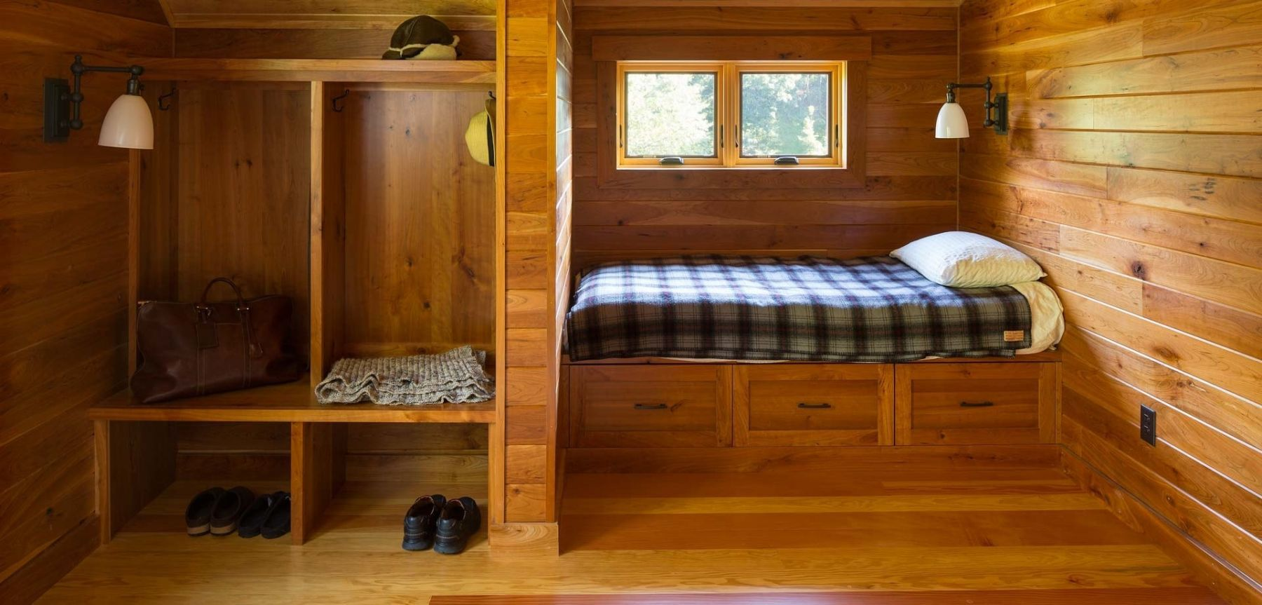 Wooden fishing cabin mudroom