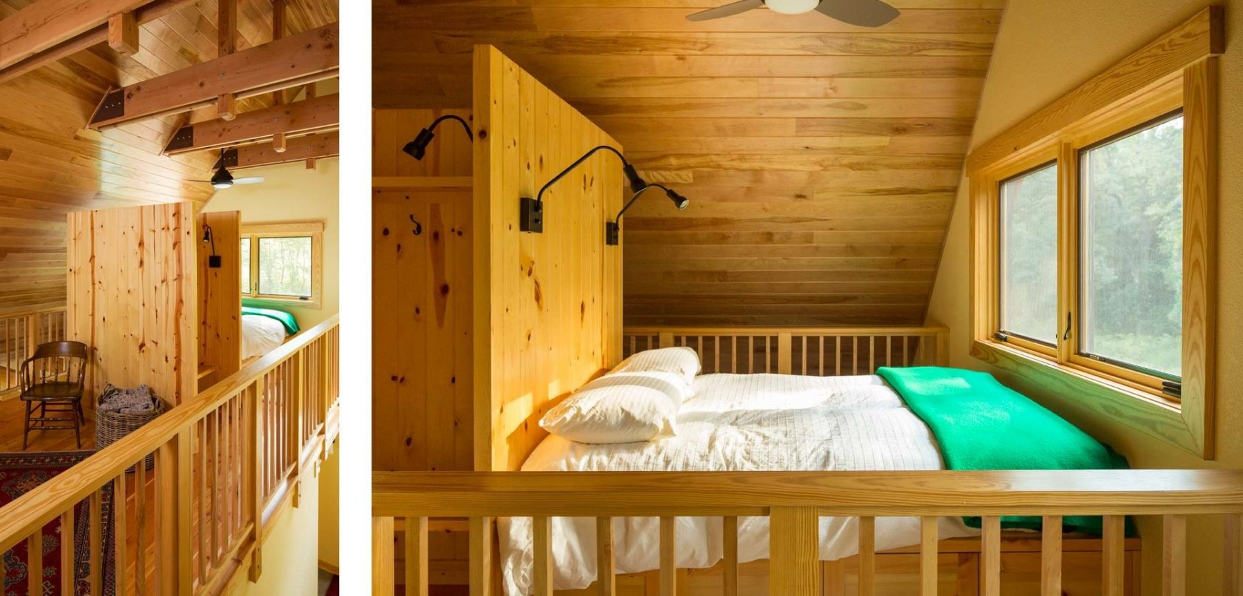 Wooden fishing cabin bright bedroom